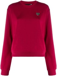 Love Moschino Heart Plaque Sweatshirt Red