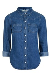 Topshop Moto Denim Fitted Shirt Mid Stone