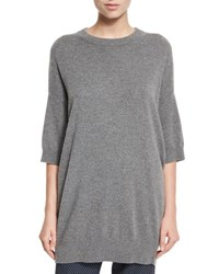 Vince Slouchy Half Sleeve Cashmere Sweater Heather Stone