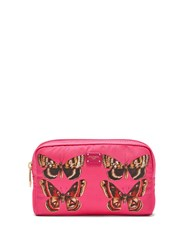 Dolce And Gabbana Butterfly Print Zip Around Cosmetics Bag Pink Multi