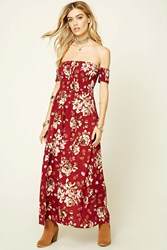 Forever 21 Reverse Floral Print Maxi Dress Burgundy