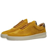 Filling Pieces Low Mondo Ripple Suede Perforated Sneaker Yellow