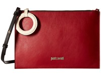 Just Cavalli Color Block Calf Leather Crossbody Ruby Red Cross Body Handbags