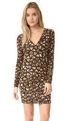 Alice Olivia Nora Embellished V Neck Dress Bronze