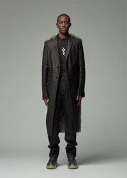 Rick Owens 'S Alice Coat In Black Dust Size 46 Cotton Lamb Shearling Leather Black Dust