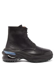 Maison Martin Margiela Retro Fit Leather Combat Boots Black
