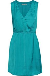 Tart Collections Woman Annalisa Wrap Effect Washed Crepe De Chine Mini Dress Turquoise