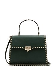 Valentino Rockstud Grained Leather Bag Dark Green