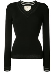 By. Bonnie Young V Neck Ribbed Sweater Women Cashmere M Black