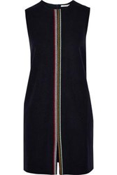 Chinti And Parker Embroidered Wool Blend Felt Mini Dress Navy