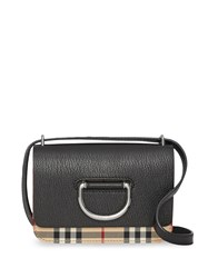 Burberry The Mini Vintage Check And Leather D Ring Bag Black