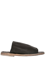 Officine Creative Washed Leather Slip On Sandals Black