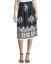 5Twelve Pleated Jacquard A Line Skirt Navy White