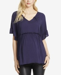 Jessica Simpson Maternity Empire Waist Blouse Navy