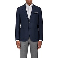 Barneys New York Neat Wool Silk Two Button Sportcoat Navy