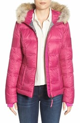 Women's Pajar 'Harlow' Genuine Coyote Fur Trim Hooded Down Jacket Berry