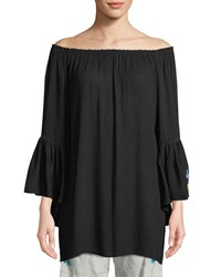 Johnny Was Casey Bell Sleeve Tunic Coverup Plus Size Black
