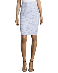 St. John Linear Tweed Pencil Skirt Black White