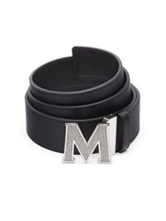 Mcm Jeweled M Saffiano Leather Belt Black