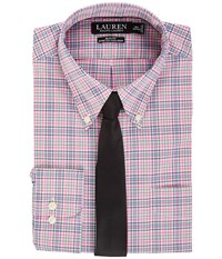 Lauren Ralph Lauren Non Iron Poplin Slim Button Down Collar Plaid Dress Shirt Pink Peony Men's Clothing