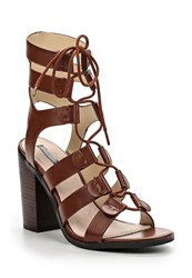 Lost Ink Roman Ghillie Heeled Sandals Tan