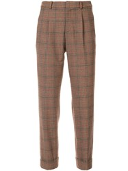 Loveless High Waist Check Trousers Brown