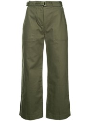 Rag And Bone Cropped High Rise Trousers Green