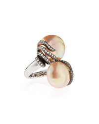 Assael Baroque Freshwater Pearl And Diamond Bypass Cocktail Ring Size 6.75
