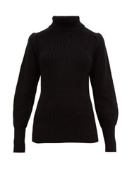 Frame Roll Neck Ribbed Cotton Blend Sweater Black