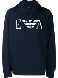 Emporio Armani Logo Printed Hooded Sweatshirt Blue