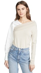 Adeam Two Way Knit Top Beige White