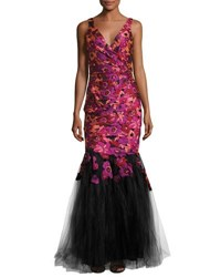 Badgley Mischka Floral Embroidered Mermaid Gown Purple Black