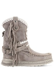 El Vaquero 70Mm Arya Fringed Leather Boots Grey