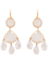 Marie Helene De Taillac Rose Quartz Chandelier Earrings Pink And Purple
