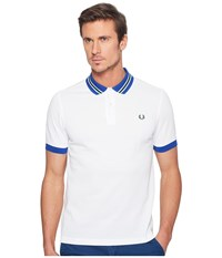Fred Perry Bomber Stripe Collar Pique Shirt White 1 Men's Clothing