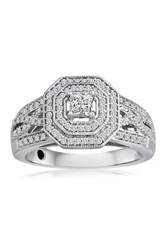 Elani Diamonds Platinaire Pave And Princess Cut Diamond Ring 0.50 Ctw Metallic