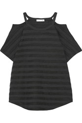Rag And Bone Cutout Striped Stretch Jersey T Shirt Black
