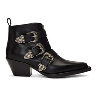 R 13 R13 Black Three Buckle Ankle Boots