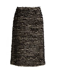 Simone Rocha Textured Tweed Skirt Black White