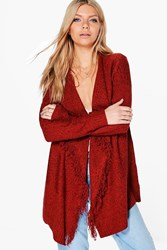 Boohoo Ruby Fringed Waterfall Cardigan Rust