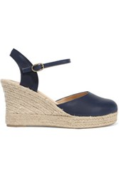 8 Leather Wedge Espadrille Sandals Navy