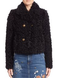 Red Valentino Kalgan Lamb Fur Cropped Jacket Black