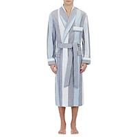Barneys New York Men's Piped Block Striped Robe Blue