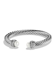 David Yurman Crossover Bracelet With Pearls And Diamonds Silver Pearl