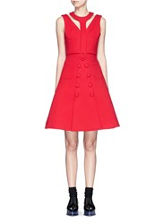 Chictopia Detachable T Strap Button Dress Red