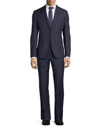 Neiman Marcus Striped Wool Two Piece Suit Navy
