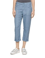 Calvin Klein Jeans Linen Patch Pocket Cropped Pants Slate
