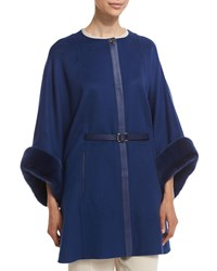 Loro Piana Margot Cashmere Cape With Mink Fur Navy