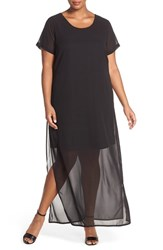 Plus Size Women's Junarose 'Dasha' Short Sleeve Chiffon Overlay Maxi Dress