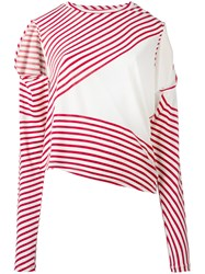 Maison Martin Margiela Mm6 Asymmetric Striped Sweater Red
